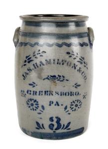 Jas. Hamilton three-gallon stoneware crock, 19th c