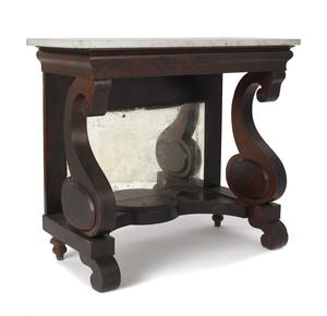 Empire mahogany marble top pier table, ca. 1845, 3