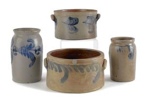 Four Pennsylvania cobalt decorated stoneware crock