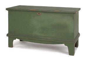 New England painted pine blanket chest, ca. 1800,i