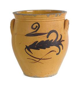 Pennsylvania earthenware two-gallon crock, 19th c.