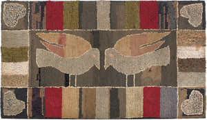 American hooked rug, late 19th/early 20th c., thee
