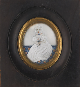 Miniature watercolor oval portrait, 19th c., of aa