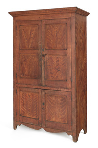 New Jersey painted pine wall cupboard, ca. 1820, w