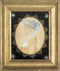 American miniature watercolor on paper profile por