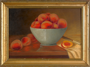Oil on board still life of peaches, late 19th c.,i
