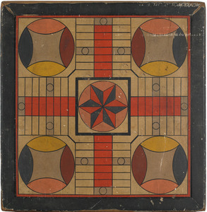 New England painted pine Parcheesi game board, lat