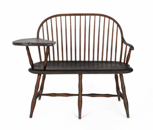Rare Delaware Valley writing arm Windsor settee, c