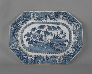 Massive English delft blue and white platter, ca.7