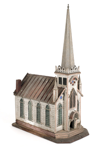 Detailed tin model of a church, with stained glass