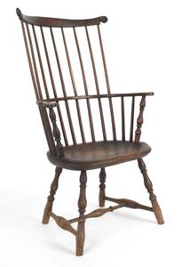 Philadelphia Windsor armchair, ca. 1765, with a cr