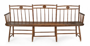 Delaware Valley stepped rodback Windsor settee, wi