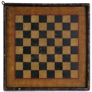Painted pine gameboard, 19th c., with a marbleized