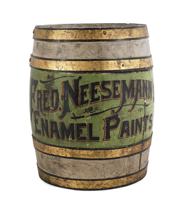 Country store painted advertising barrel, 19th c.,