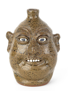 Georgia stoneware face jug by Lanier Meaders, sign
