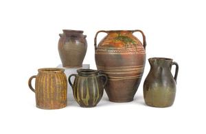 Five redware/stoneware crocks, tallest - 17