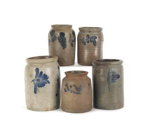 Five American stoneware crocks, 19th c., with coba