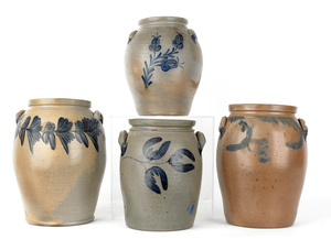 Four American stoneware crocks, 19th c., with coba