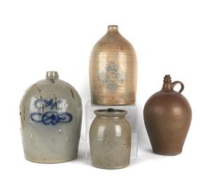 Two American stoneware jugs, 19th c., one impresse