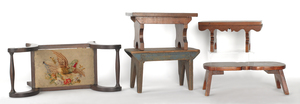 Five wooden footstools, 19th c.