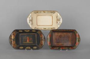 Three tole bread trays, 19th c., approx. 3