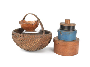 Four bentwood boxes, together with a split oak bas