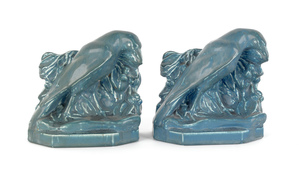Pair of Rookwood pottery rook bookends, 5 3/8