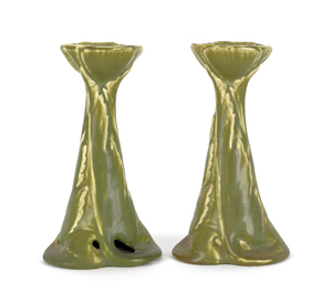 Pair of Rookwood pottery candlesticks, 6 3/4