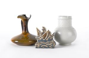 Rookwood pottery sailing ship paperweight, 4