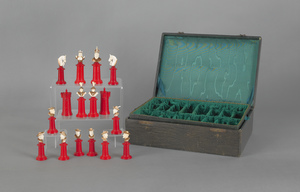 Carved ivory chess set with case