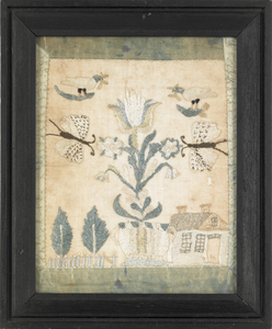 Pennsylvania silk on gauze pictorial sampler, ca.8