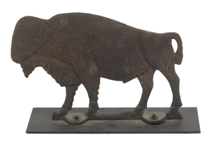 Cast iron buffalo mill weight, 19th c., 10 3/4