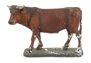 Painted plaster bull, ca. 1900, 20