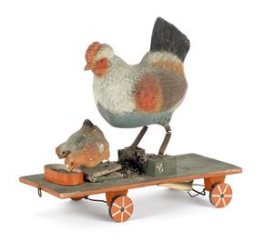 Highly unusual German squeak toy on wheels, late 1