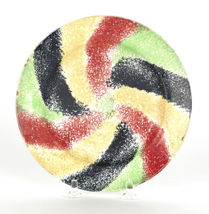 Red, yellow, green, and black rainbow spatter swir