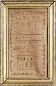 Silk on linen house sampler dated, 1832, wrought b