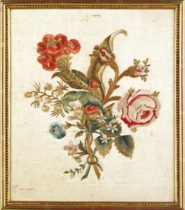 Silkwork floral bouquet, 19th c., 12 1/2