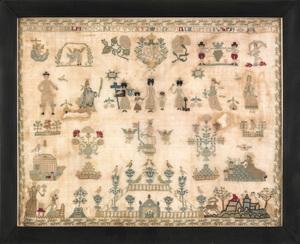 Continental silk on linen sampler, dated 1796, 12/
