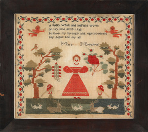 Wool needlework sampler, mid 19th c., wrought by M