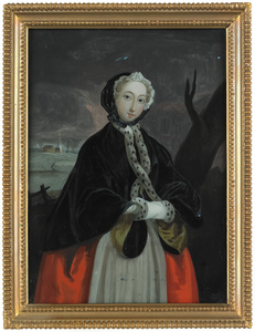 English reverse painted portrait of a woman, early