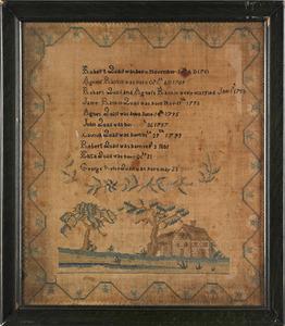 Silk on linen Quail family register, early 19th c.