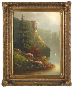 Oil on canvas landscape, ca. 1870, 24