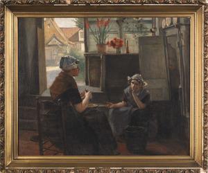 Dutch oil on canvas interior scene, after Kuehl, d