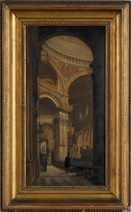 Oil on board church interior, ca. 1900, 18 1/2