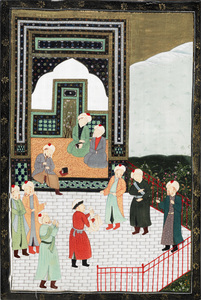 Asian painted silk panel, 43
