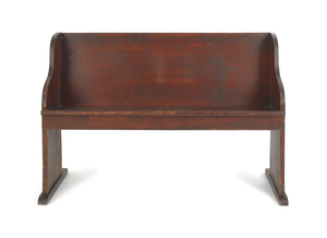 Stained poplar church pew, 32 1/2