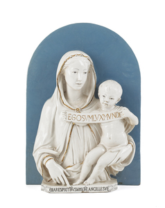 Cantagalli faience plaque of the Madonna and child