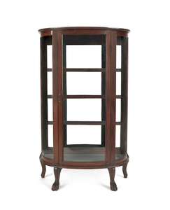 Oak bowfront china cabinet, ca. 1900, by the New F