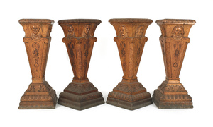 Set of four carved oak pedestals, ca. 1900, 38