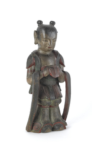 Southeastern Asian carved and painted wood figure